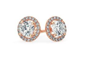 18K Rose Gold Diamond Stud Earrings