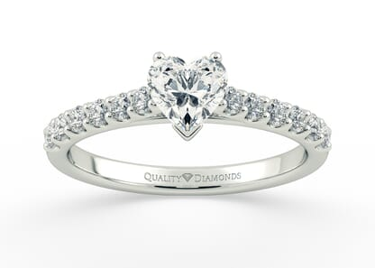 DIAMOND SET HEART MILENA in 18K WHITE GOLD