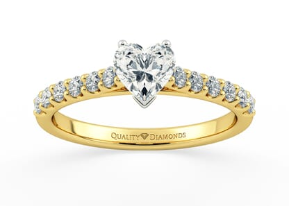 DIAMOND SET HEART MILENA in 18K YELLOW GOLD