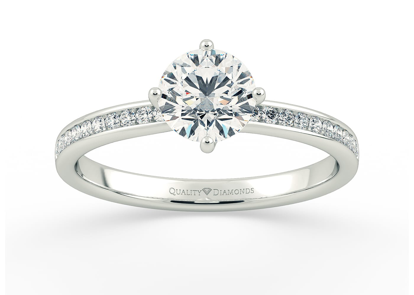 A Four Claw Compass Set Diamond Engagement Ring