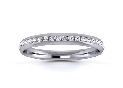 2.5mm  wedding ring in 18k white gold