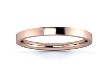 2mm Flat Court Flat Edge  Wedding Ring in 18K Rose Gold