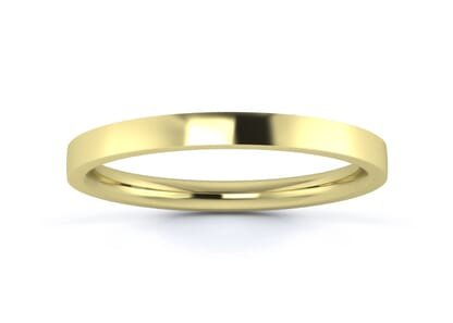 2mm flat court flat edge  wedding ring in 18k yellow gold
