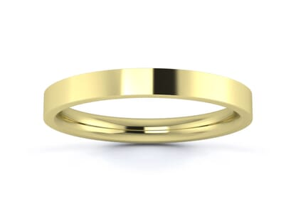 2.5mm flat court  wedding ring in 9k yellow gold