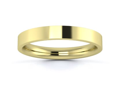 3mm flat court  wedding ring in 9k yellow gold