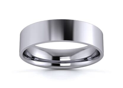 5mm flat court  wedding ring in platinum