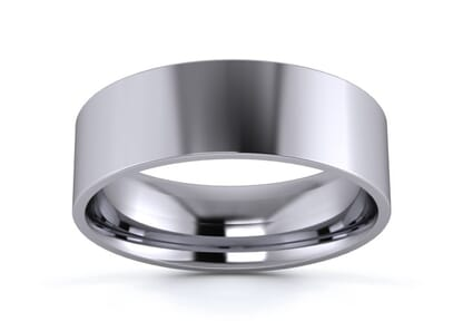 6mm flat court  wedding ring in palladium
