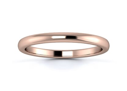 2mm slight court flat edge  wedding ring in 18k rose gold