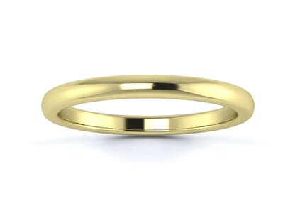 2mm slight court flat edge  wedding ring in 18k yellow gold