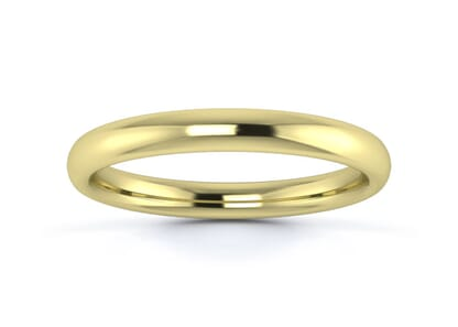 2.5mm Slight Court  Wedding Ring in 9K Yellow Gold
