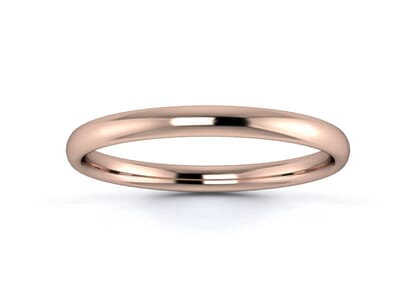 2mm slight court  wedding ring in 18k rose gold
