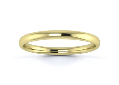 2mm slight court  wedding ring in 18k yellow gold