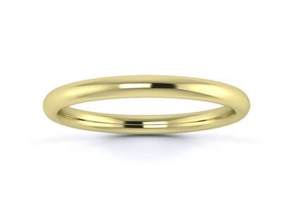 2mm slight court  wedding ring in 9k yellow gold