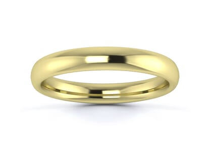 3mm slight court  wedding ring in 9k yellow gold