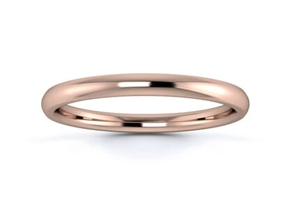 2mm traditional court flat edge  wedding ring in 18k rose gold
