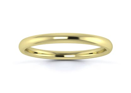 2mm Traditional Court Flat Edge  Wedding Ring in 18K Yellow Gold