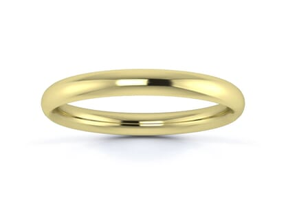 2.5mm traditional court  wedding ring in 9k yellow gold