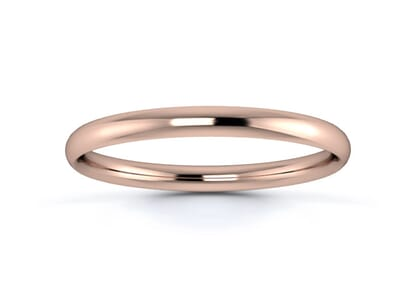 2mm traditional court  wedding ring in 18k rose gold