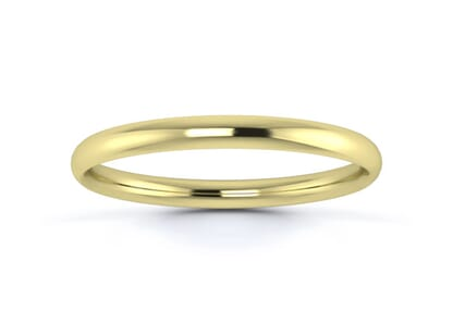 2mm traditional court  wedding ring in 18k yellow gold