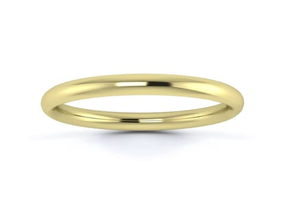 2mm traditional court  wedding ring in 9k yellow gold