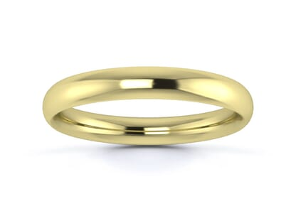 3mm traditional court  wedding ring in 9k yellow gold