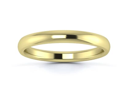 2.5mm Traditional D Shape  Wedding Ring in 9K Yellow Gold