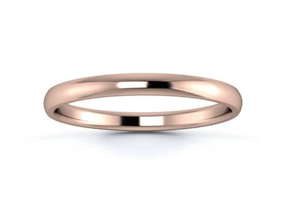 2mm traditional d shape  wedding ring in 18k rose gold