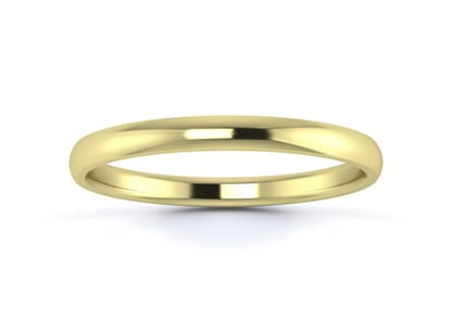 2mm traditional d shape  wedding ring in 18k yellow gold