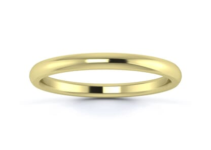 2mm traditional d shape  wedding ring in 9k yellow gold
