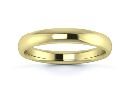 3mm traditional d shape  wedding ring in 9k yellow gold