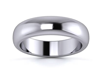5mm Traditional D Shape  Wedding Ring in platinum
