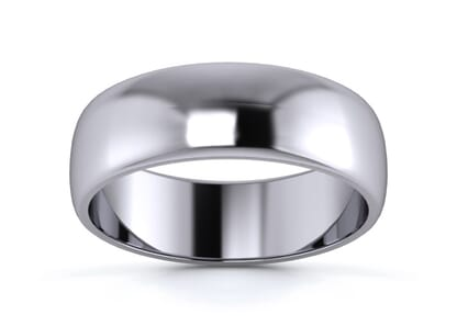 6mm traditional d shape  wedding ring in palladium
